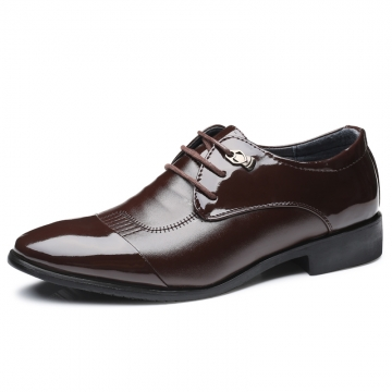 Leather Men Dress Shoes Business Casual Classic Gentleman Shoes Male brown 44