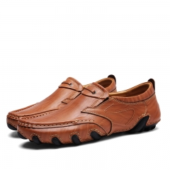 Genuine Leather Slip On Men Shoes Fashion British Style Men Causal Shoes Outdoor Driving brown 39