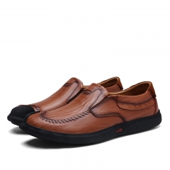 Vintage Warm Winter Men Casual Shoes Soft Breathable Walking Shoes Handmade Genuine Leather Slip On brown 39