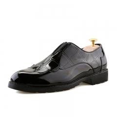Korean Trend Men Oxfords Fashion Pointed Toe Patent Leather Business Shoes Casual Rubber Men Shoes black 39