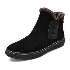 Casual Men Winter Boots Snow Boots Ankle Boots Warm With Plush&Fur Work Safety Men Shoes Furry black 39