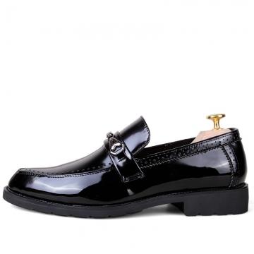 Autumn Gentleman Style Men Loafers Tassels Men's Flats Dress Shoes Leather Slip Ons black 39