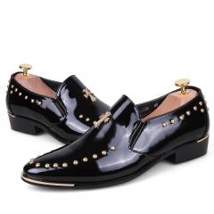 Brogues Men Shoes Moccasins Shoes Men Dress Shoes Flats Slip On Vintage Tassel Leather Shoes black 39