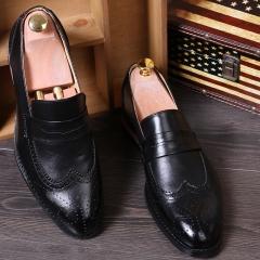 New Design Cool England Men Fashion Loafer Leather Dress Shoes Tassel Slip On Party Men's Moccasin black 39