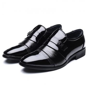 Leather Black Mens Dress Shoes Oxford Shoes For Men Slip On Office Business Men Shoes black 39
