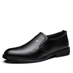 Men's Dress Shoes Black Brown Men Leather Shoes High Quality Business Men Shoes Slip On black 39