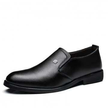 Men's Dress Shoes Black Brown Men Leather Shoes High Quality Business Men Shoes Slip On black 39