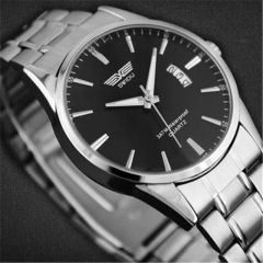 Stainless Steel Band  Analog Quartz Sport Mens Wrist Watch black