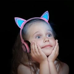 Foldable cat ear headphones Gaming Headset Earphone with LED light  Computer Mobile Phone KK068
