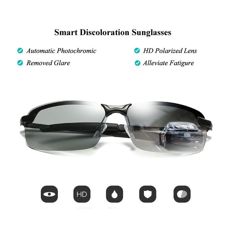 6196b13aaa AORON Brand Photochromic Sunglasses Men Polarized Discoloration Anti ...