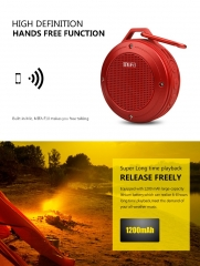 Outdoor Wireless Bluetooth 4.0 Stereo Portable Speaker Built-in mic Shock Resistance IPX6 Waterproof red 5v #01
