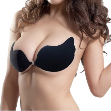 C/D Cup Women Sexy Push Up Bra Self-Adhesive Bust Front Closure Strapless Invisible Women's Bra black d