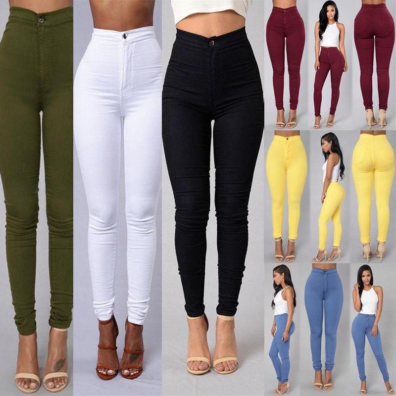 4c5aedb40cb Sexy Women Skinny Stretch Denim Slim High Waist Trousers Leggings ...