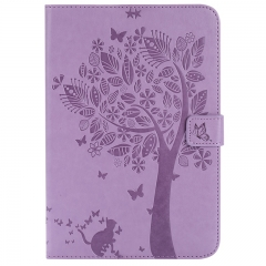 Samsung Galaxy Tab A 8.0-inch SM-T350 Case,Embossed [Tree Cat] Folio Flip Wallet Cover (Lavender) For Galaxy Tab A 8.0-inch SM-T350