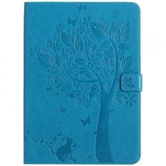 Apple iPad Air / iPad 5 Case,Embossed [Tree Cat] Folio Flip Wallet Cover (Blue) For Apple iPad Air / iPad 5