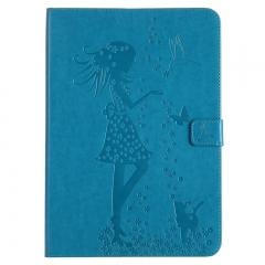 Samsung Galaxy Tab A 9.7-Inch SM-T550 Case,Embossed [Girl Cat] Folio Flip Wallet Cover (Blue) For Galaxy Tab A 9.7-Inch SM-T550