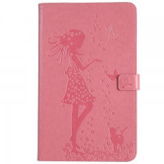 Samsung Galaxy T580/T585 Case,Embossed [Girl Cat] Folio Flip Wallet Cover (Pink) For Galaxy Tab A 10.1 Inch Tablet SM-T580/T585