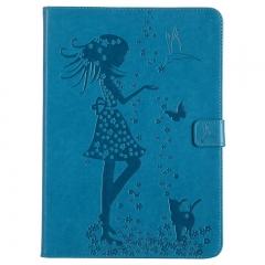 Apple iPad Air / iPad 5 Case,Embossed [Girl Cat] Folio Flip Wallet Cover (Blue) For Apple iPad Air / iPad 5