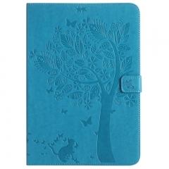 Samsung Galaxy Tab A 9.7-Inch SM-T550 Case,Embossed [Tree Cat] Folio Flip Wallet Cover (Blue) For Galaxy Tab A 9.7-Inch SM-T550