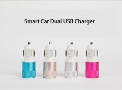 Metal Car Mobile phone Charger Mobile Phone Dual USB Car Charger Andrews Apple General blue one size