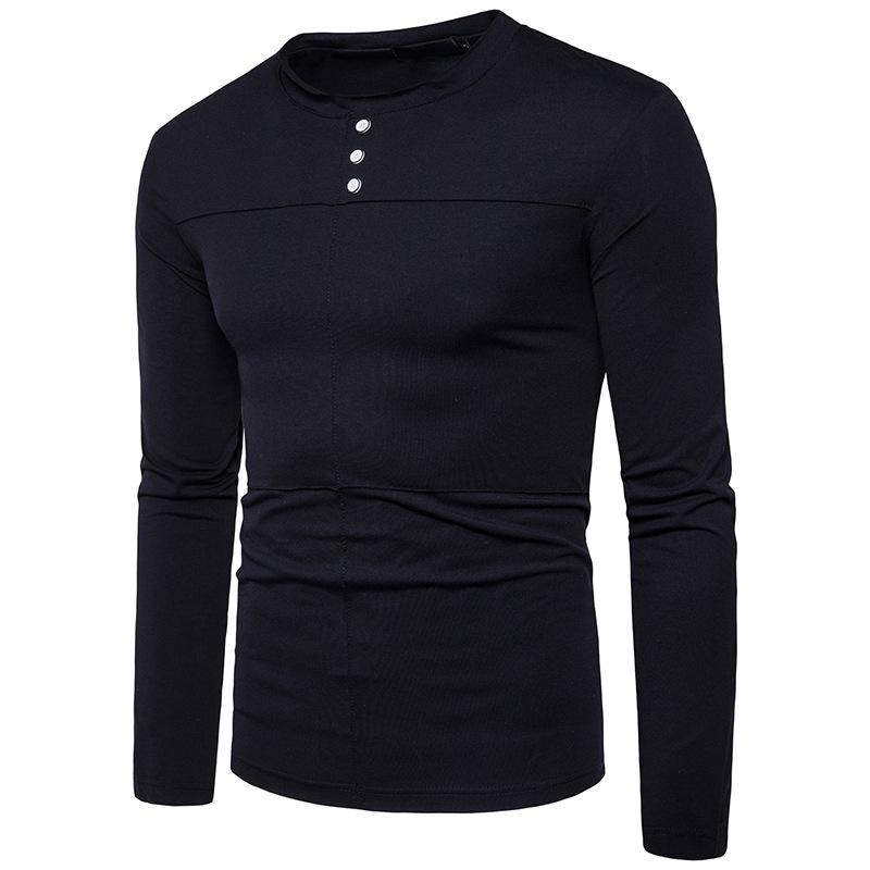 49d9deac 2017 New Pierced Folding Men's Long Sleeve Round Collar T-shirt ...