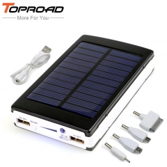 Portable Solar Power Bank 12000MAH bateria externa portatil Dual USB LED External Phone Battery black 12000