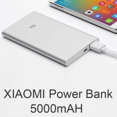 Original Xiaomi Power Bank 5000mAh Ultra Slim Powerbank 5000 External Battery Charger for all phone white 5000 mah