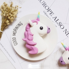 Newest Design 2600mah Funny Cute Emoji Unicorn Shaped Power Bank PVC Material Charge Mobile Cartoon as the picture 2600 mah