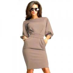 Women Simple Round Collar Puff Sleeve Bowknot Pure Color Midi Dress Khaki 2XL