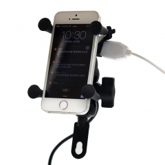 Excelvan Universal Motorcycle Mount Cell Phone Holder USB Charger As the picture One Size