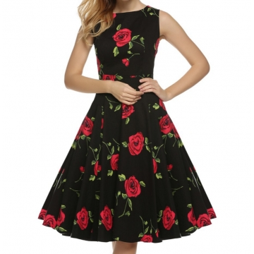 Sleeveless Floral Printed Party Cocktail Evening Dress Rose s