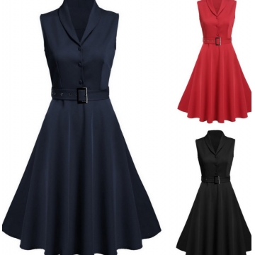 Women Fashion Vintage Style Shawl Collar Sleeveless black m