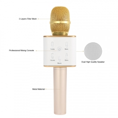 Mini Wireless Karaoke Player-Condenser Microphone-Handheld Mic Dual Speakers Singing for Phone PC Gold 5V Metal
