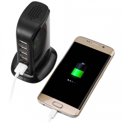 30W 6 USB Ports Charger Over-voltage Protection Power Adapter for iPhone iPad iPod HTC Black One Size
