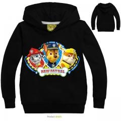 Fashion Cotton Long Sleeve Sweatshirts Zipper Coat Printed Kids Jackets Hooded Children's Clothing black 3t