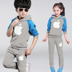 Fashion IPhone Printed Cotton Children Clothes Set Long Sleeve Baby Boy Girl Suit Hoody Shirt + Pant gray 110cm