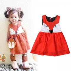 Summer Children Dresses Fox Pattern Printing Sleeveless Baby Girl Dress Cute Cotton Girls Clothes red 80cm