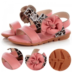 Fashion Leather Girl Princess Shoes Flat Heel Toe Children Shoes Tendon Soft Bottom Girl Sandals white 27
