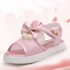 Fashion Pink Girl Children's Shoes Flat Bottom Open Toe Bowknot Sandals Screen cloth  Beach Shoes pink 27
