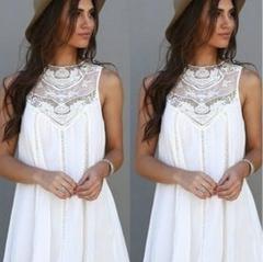 2016 Fashion chiffon stitching lace round collar sleeveless dresses white S