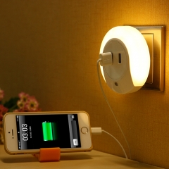 Intelligent Light Control LED Night Light Creative Home Bedside Double Usb Charger white