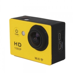 Sport camera Full HD DVR Action Camera W9 wifi 1080P 2 inch Screen 170 Wide Angle go 30M Waterproof Yellow As picture