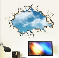 Blue sky white cloud landscape 3d windows wall stickers room decorations wall sticker Blue As picture