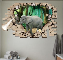 3D Elephants Wall Stickers Home Decor Sticker Brown As picture