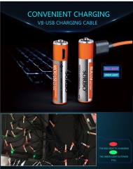 USB Rechargeable Battery 1.5V 400mAh Li-polymer Micro V8 interface Quick Charge Battery Orange 3.2*4.1*2.8cm