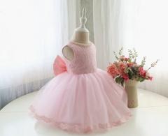 Fashion Beautiful Princess Dress Cute Sleeveless Printing Flower Girl Dress Round Neck pink 90