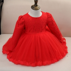 Lovely Princess kids  Dress Birthday Gown red 90