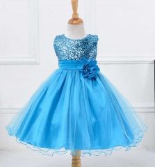 New Summer Baby Princess Dress Kids Girls Fashion Clothes sky bule 80