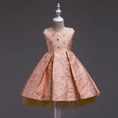 Flower Girl Dress Kids Girl  Wedding Party Gown Orange 110