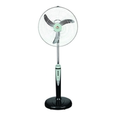 """Andrakk 18"""" Rechargeable Fan With Remote Control and Solar Charging Port - ADK2418 black"""